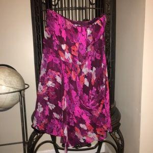 Tibi Silk Purple Floral Minidress Size 6
